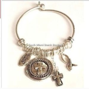 Silver Serenity Prayer Bracelet Message Cross 8""